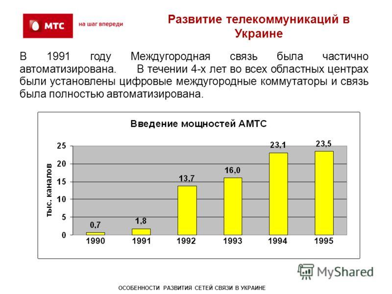 В 1991 году Междугородная связь была частично автоматизирована. В течении 4-х лет во всех областных центрах были установлены цифровые междугородные коммутаторы и связь была полностью автоматизирована. Развитие телекоммуникаций в Украине 7 19901991199