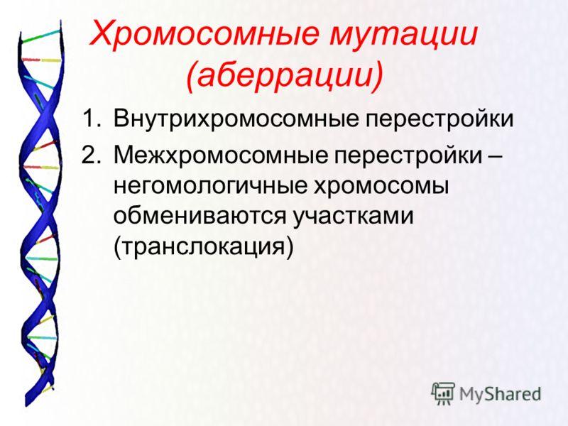 Хромосомные мутации (аберрации) 1.Внутрихромосомные перестройки 2.Межхромосомные перестройки – негомологичные хромосомы обмениваются участками (транслокация)