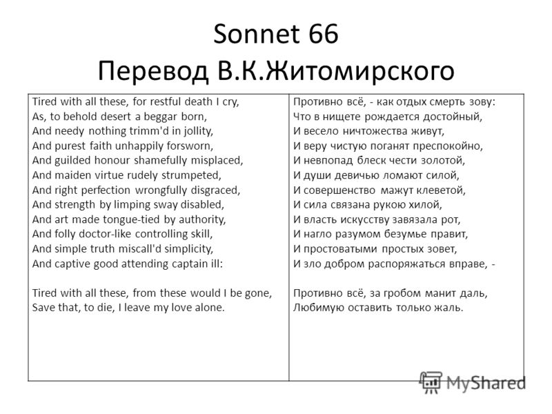Sonnet 66 Перевод В.К.Житомирского Tired with all these, for restful death I cry, As, to behold desert a beggar born, And needy nothing trimm'd in jollity, And purest faith unhappily forsworn, And guilded honour shamefully misplaced, And maiden virtu