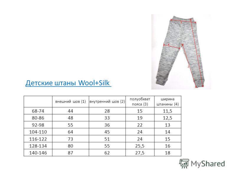 внешний шов (1)внутренний шов (2) полуобхват пояса (3) ширина штанины (4) 68-7444281511,5 80-8648331912,5 92-9855362213 104-11064452414 116-12273512415 128-134805525,516 140-146876227,518 Детские штаны Wool+Silk