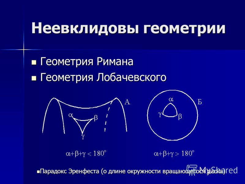 Неевклидовы геометрии Геометрия Римана Геометрия Римана Геометрия Лобачевского Геометрия Лобачевского Парадокс Эренфеста (о длине окружности вращающегося диска) Парадокс Эренфеста (о длине окружности вращающегося диска)