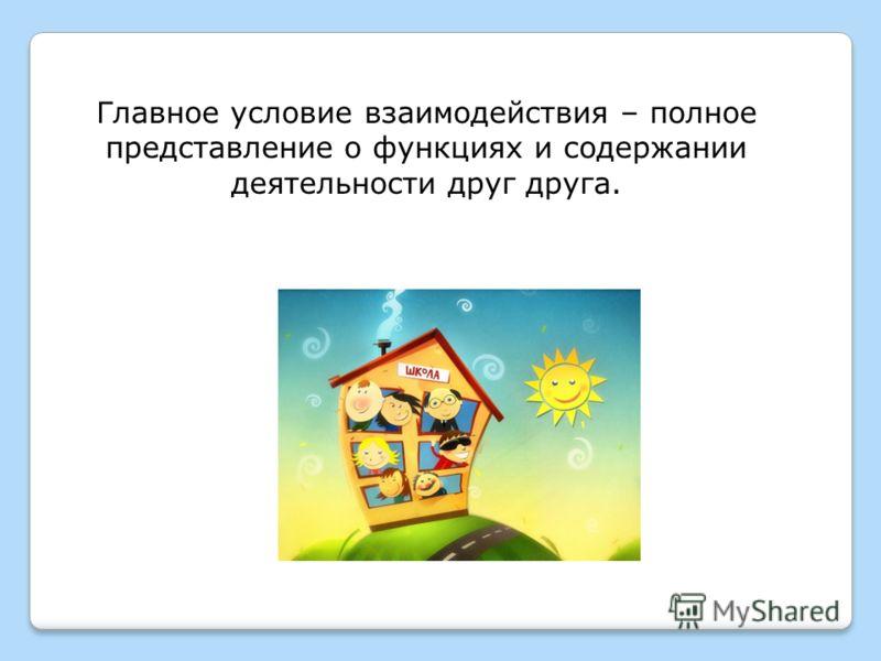 Главное условие взаимодействия – полное представление о функциях и содержании деятельности друг друга.