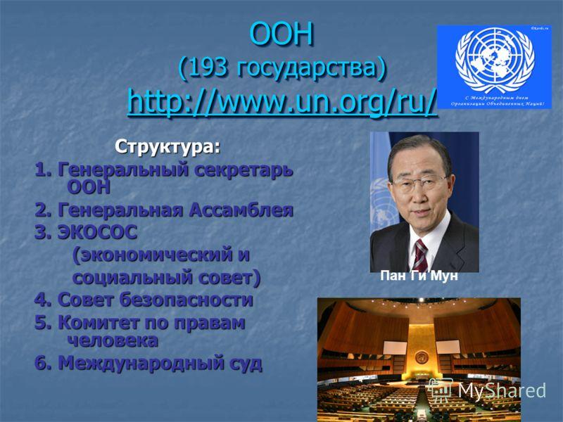 ООН (193 государства) http://www.un.org/ru/ http://www.un.org/ru/ ООН (193 государства) http://www.un.org/ru/ http://www.un.org/ru/ Структура: 1. Генеральный секретарь ООН 2. Генеральная Ассамблея 3. ЭКОСОС (экономический и (экономический и социальны