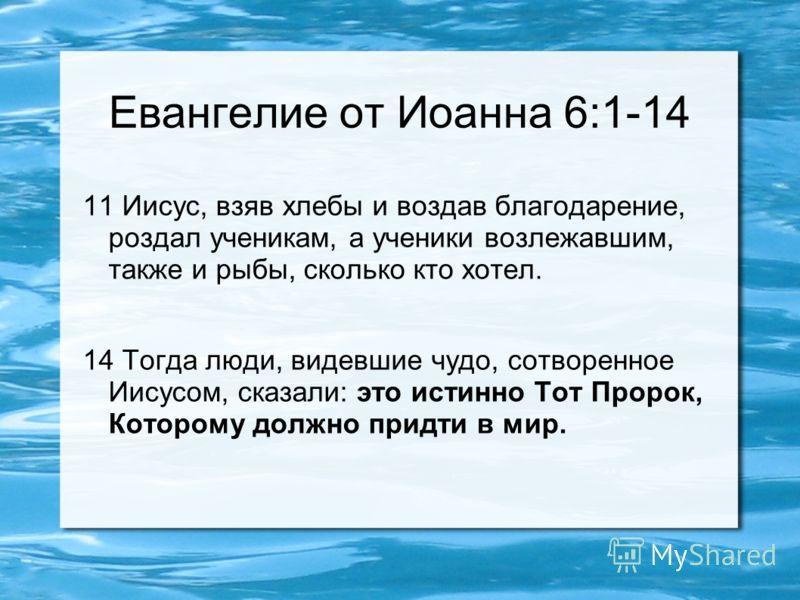 Евангелие от Иоанна 6:1-14 11 Иисус, взяв хлебы и воздав благодарение, роздал ученикам, а ученики возлежавшим, также и рыбы, сколько кто хотел. 14 Тогда люди, видевшие чудо, сотворенное Иисусом, сказали: это истинно Тот Пророк, Которому должно придти