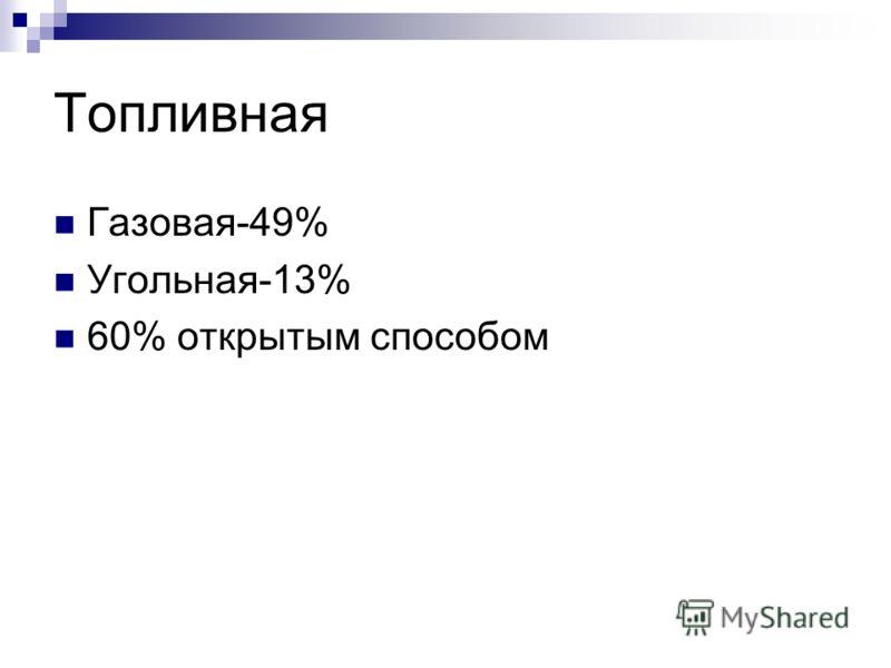 Топливная Газовая-49% Угольная-13% 60% открытым способом