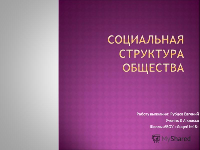 Работу выполнил: Рубцов Евгений Ученик 8 А класса Школы МБОУ «Лицей 18»
