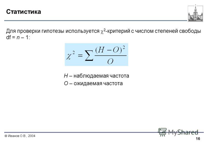 16 Иванов О.В., 2004 Статистика Для проверки гипотезы используется 2 -критерий с числом степеней свободы df = n – 1: Н – наблюдаемая частота О – ожидаемая частота