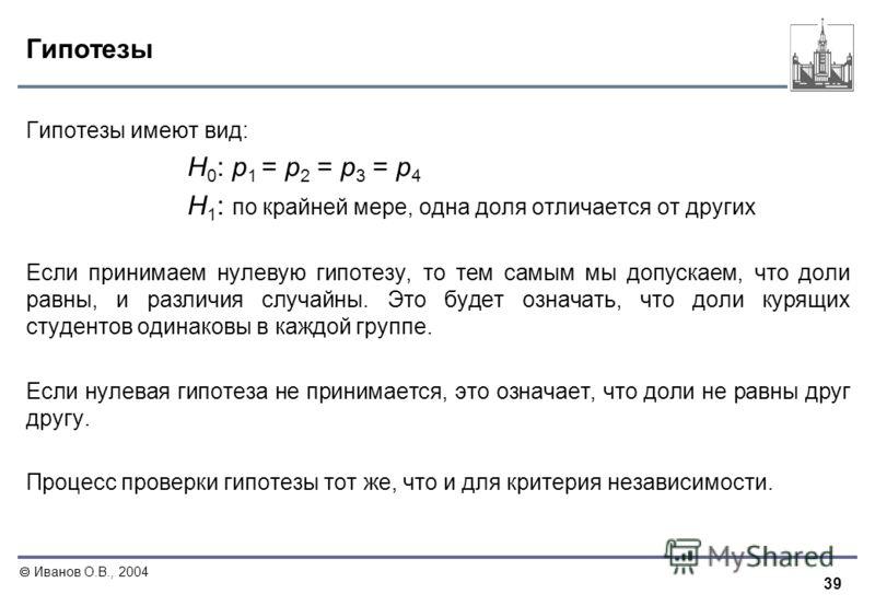 39 Иванов О.В., 2004 Гипотезы Гипотезы имеют вид: Н 0 : р 1 = р 2 = р 3 = р 4 Н 1 : по крайней мере, одна доля отличается от других Если принимаем нулевую гипотезу, то тем самым мы допускаем, что доли равны, и различия случайны. Это будет означать, ч