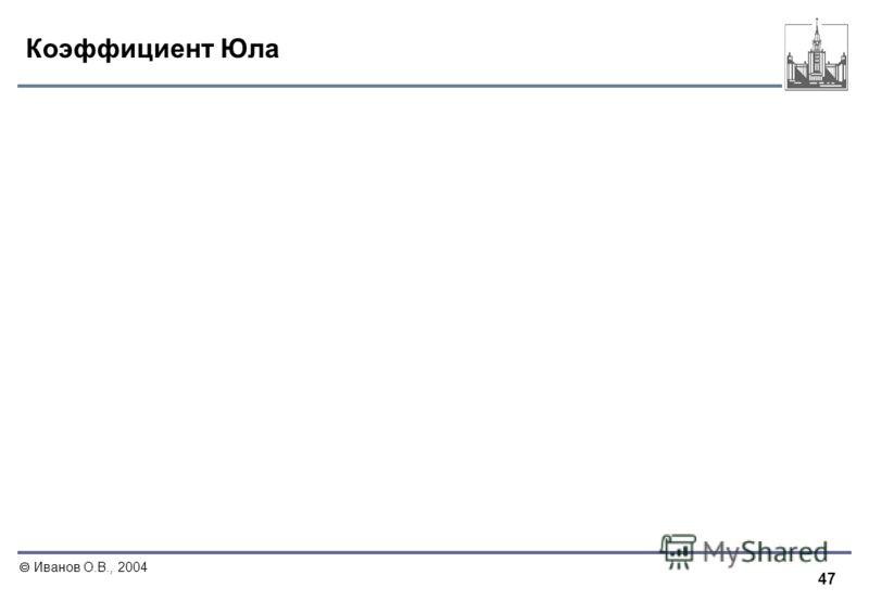 47 Иванов О.В., 2004 Коэффициент Юла