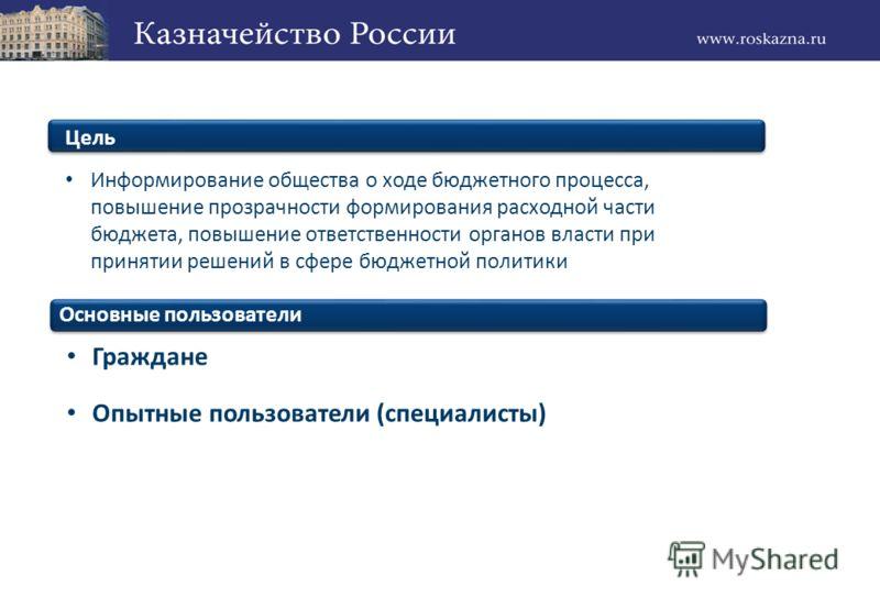 Пользователи Граждане Опытные пользователи (специалисты) Цель Информирование общества о ходе бюджетного процесса, повышение прозрачности формирования расходной части бюджета, повышение ответственности органов власти при принятии решений в сфере бюдже