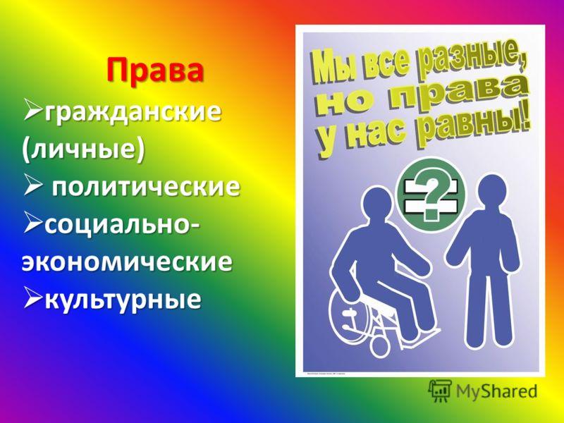Права гражданские (личные) гражданские (личные) политические политические социально- экономические социально- экономические культурные культурные