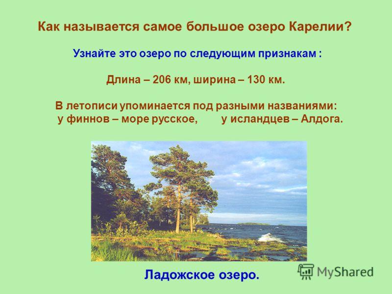 Как называется самое большое озеро Карелии? Узнайте это озеро по следующим признакам : Длина – 206 км, ширина – 130 км. В летописи упоминается под разными названиями: у финнов – море русское, у исландцев – Алдога. Ладожское озеро.