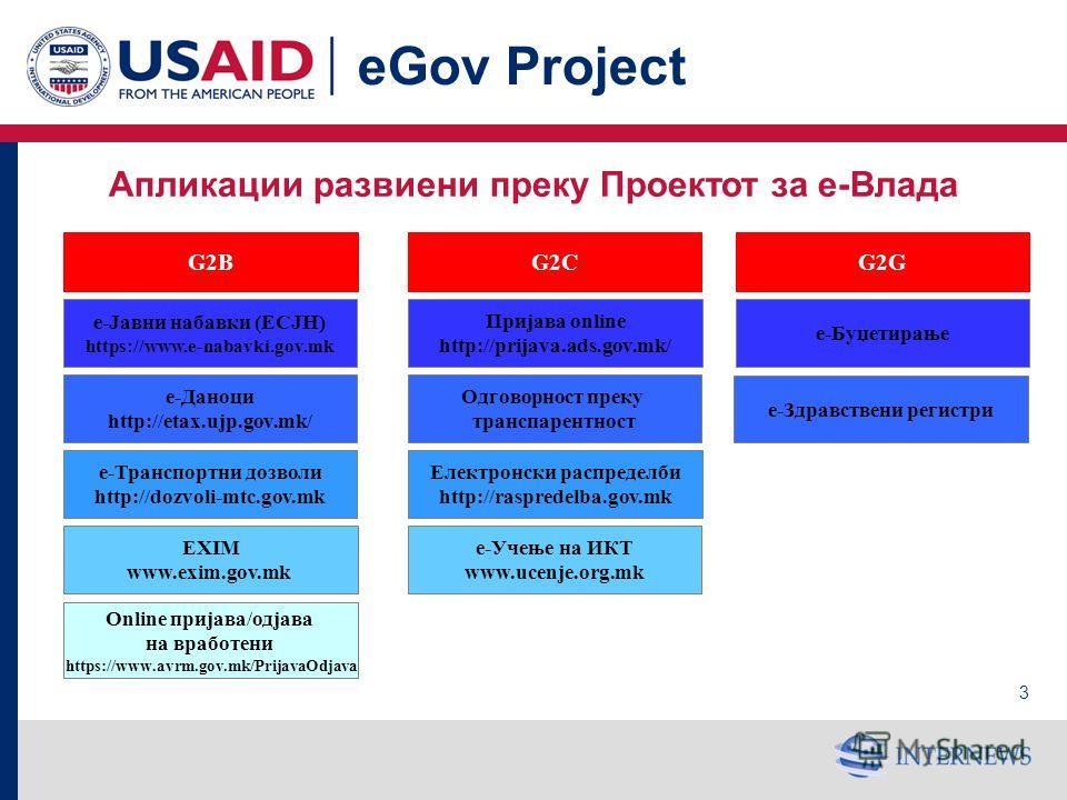 2 eGov Project Проект за е-Влада Финансиран од УСАИД Имплементиран од Internews Network Користи локални ИТ компании за развој на апликации 6 годишен проект (октомври 2004 – крај на 2010) Мандат: да и помогне на Владата на Македонија и на јавните инст