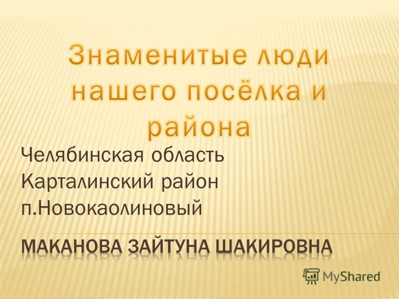 Челябинская область Карталинский район п.Новокаолиновый