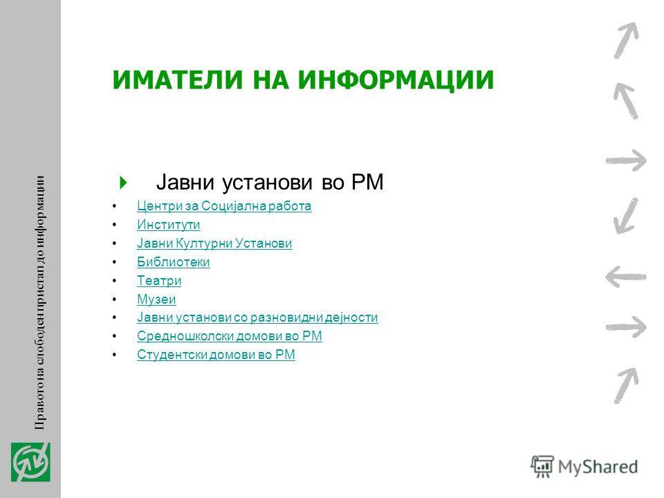 ИМАТЕЛИ НА ИНФОРМАЦИИ Сите општини во РМ Јавни претпријатија во РМ Јавни претпријатија за стопанисување со станбен и деловен простор Јавни претпријатија за комуналии и водостопанисување Јавни претпријатија за шумарство Јавни претпријатија за радиодиф