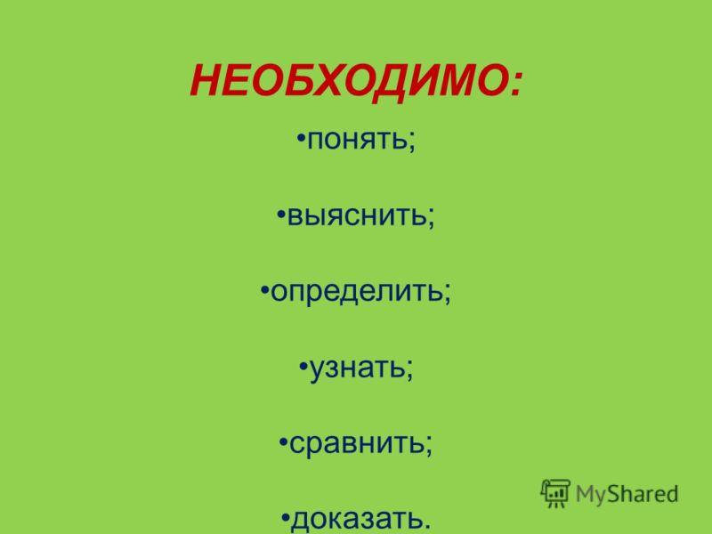 НЕОБХОДИМО: понять; выяснить; определить; узнать; сравнить; доказать.