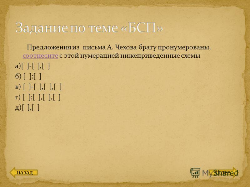 Предложения из письма А. Чехова брату пронумерованы, соотнесите с этой нумерацией нижеприведенные схемы соотнесите а)[ ]-[ ],[ ] б) [ ]:[ ] в) [ ]-[ ],[ ],[ ] г) [ ];[ ],[ ],[ ] д)[ ],[ ] назаддалее
