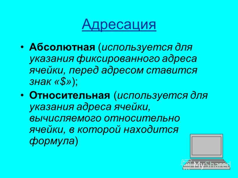 Адресация Абсолютная (используется для указания фиксированного адреса ячейки, перед адресом ставится знак «$»); Относительная (используется для указания адреса ячейки, вычисляемого относительно ячейки, в которой находится формула)