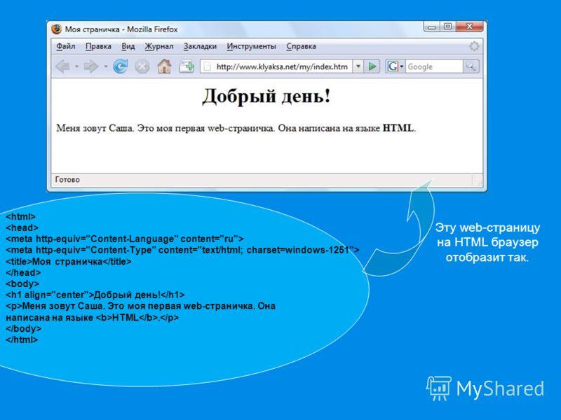 Моя страничка Добрый день! Меня зовут Саша. Это моя первая web-страничка. Она написана на языке HTML. Эту web-страницу на HTML браузер отобразит так.