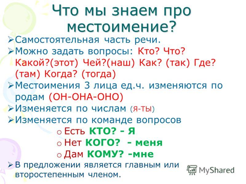 Что мы знаем про местоимение? Самостоятельная часть речи. Можно задать вопросы: Кто? Что? Какой?(этот) Чей?(наш) Как? (так) Где? (там) Когда? (тогда) Местоимения 3 лица ед.ч. изменяются по родам (ОН-ОНА-ОНО) Изменяется по числам (Я-ТЫ) Изменяется по