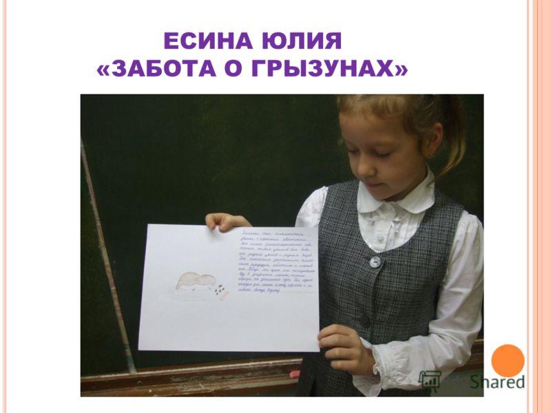 ЕСИНА ЮЛИЯ «ЗАБОТА О ГРЫЗУНАХ»