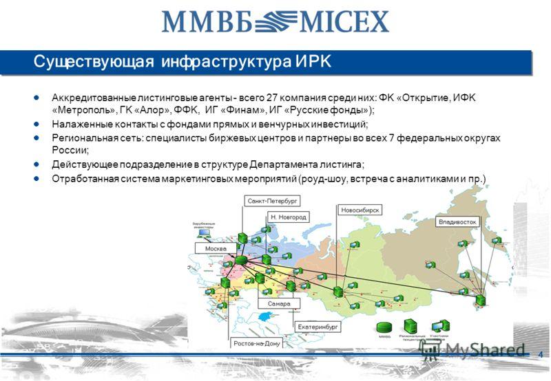 4 Существующая инфраструктура ИРК Аккредитованные листинговые агенты – всего 27 компания среди них: ФК «Открытие, ИФК «Метрополь», ГК «Алор», ФФК, ИГ «Финам», ИГ «Русские фонды»); Налаженные контакты с фондами прямых и венчурных инвестиций; Региональ