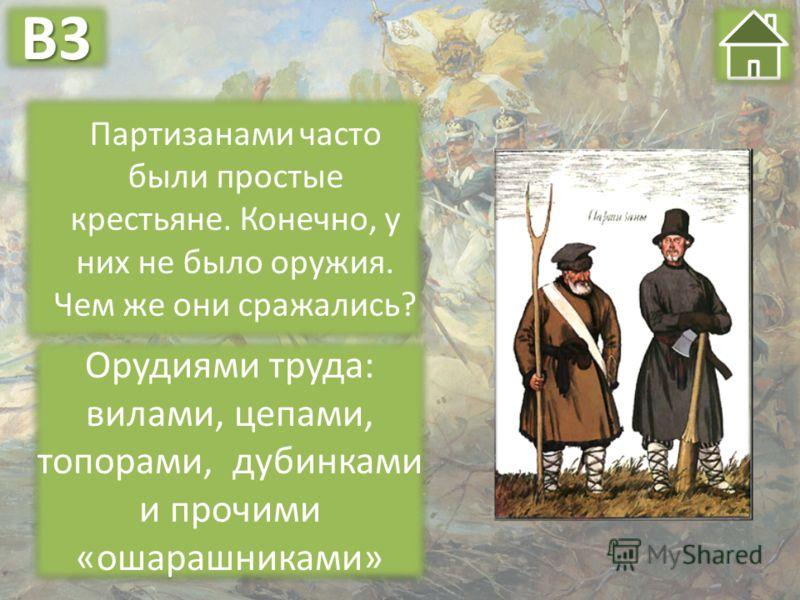 Партизанами часто были простые крестьяне. Конечно, у них не было оружия. Чем же они сражались? Орудиями труда: вилами, цепами, топорами, дубинками и прочими «ошарашниками» В3В3