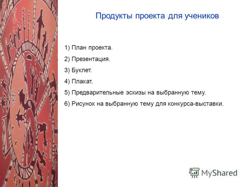 Продукты проекта для учеников 1) План проекта. 2) Презентация. 3) Буклет. 4) Плакат. 5) Предварительные эскизы на выбранную тему. 6) Рисунок на выбранную тему для конкурса-выставки.
