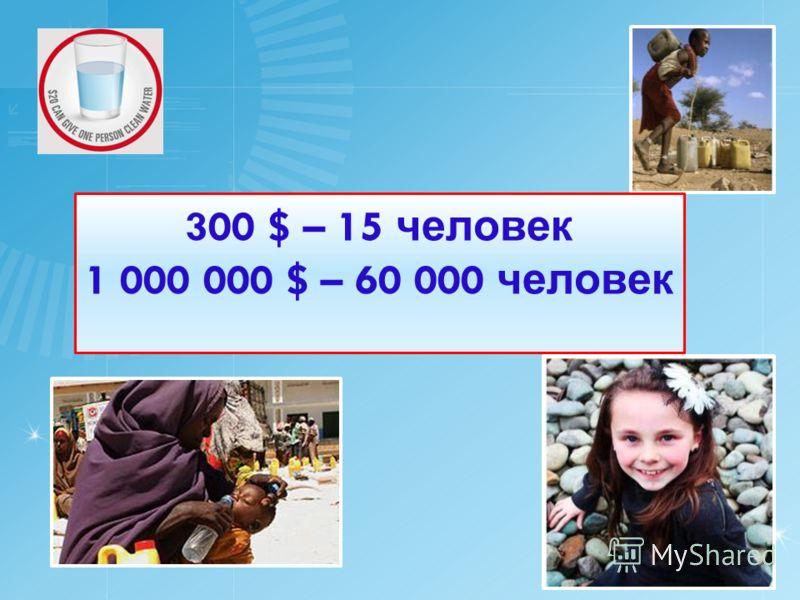 300 $ – 15 человек 1 000 000 $ – 60 000 человек