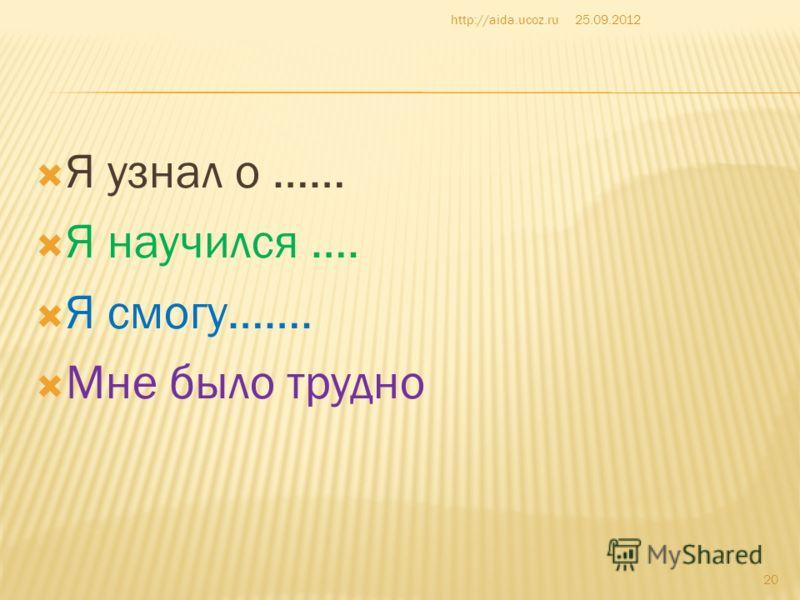 Я узнал о …… Я научился …. Я смогу……. Мне было трудно 25.09.2012http://aida.ucoz.ru 20