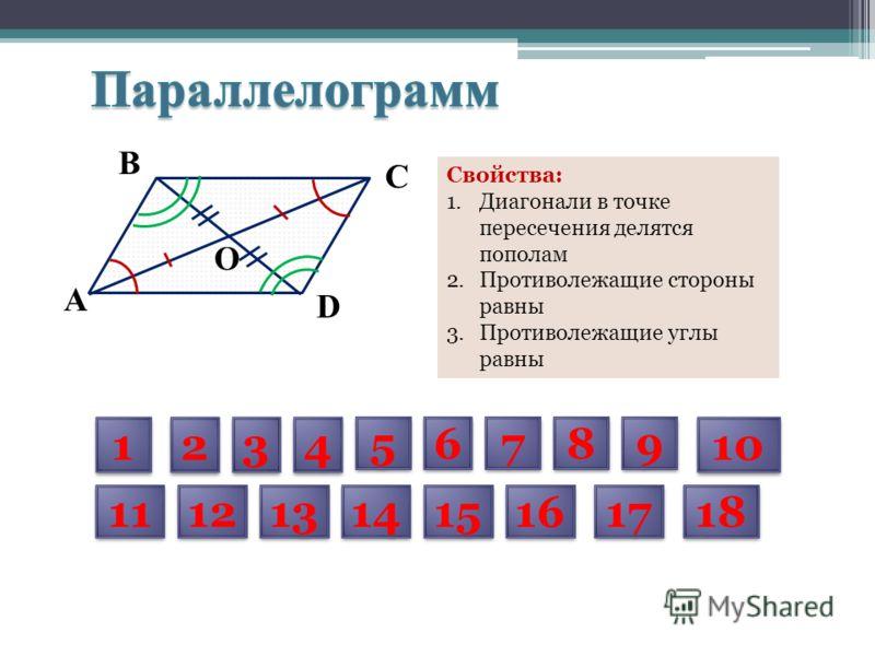 D С В А O Свойства: 1.Диагонали в точке пересечения делятся пополам 2.Противолежащие стороны равны 3.Противолежащие углы равны 1 1 2 2 3 3 4 4 5 5 6 6 7 7 8 8 9 9 10 11 12 13 14 15 16 17 18