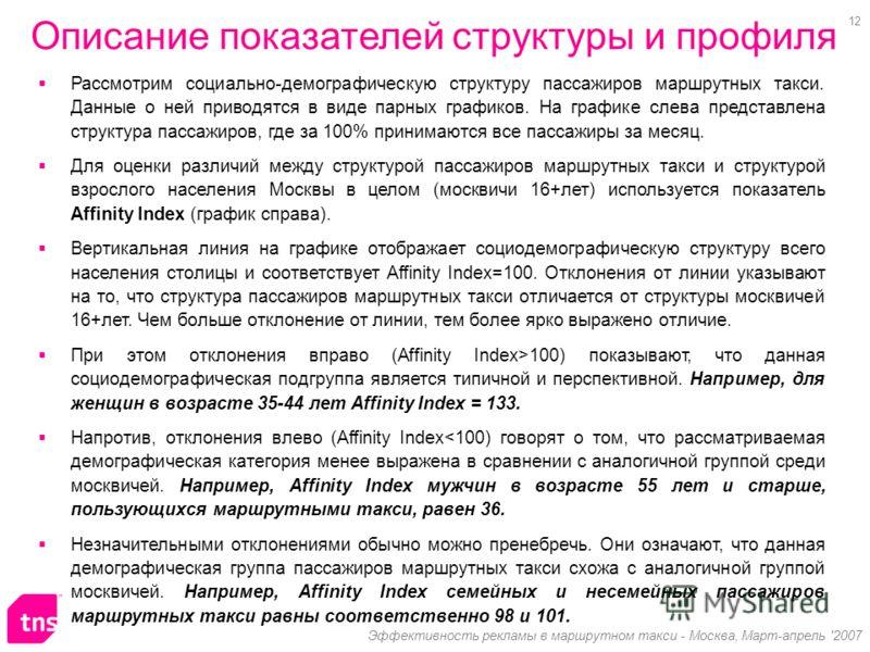 12 Эффективность рекламы в маршрутном такси - Москва, Март-апрель '2007 Рассмотрим социально-демографическую структуру пассажиров маршрутных такси. Данные о ней приводятся в виде парных графиков. На графике слева представлена структура пассажиров, гд