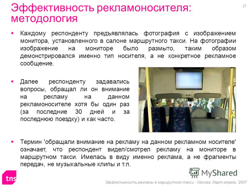 27 Эффективность рекламы в маршрутном такси - Москва, Март-апрель '2007 Каждому респонденту предъявлялась фотография с изображением монитора, установленного в салоне маршрутного такси. На фотографии изображение на мониторе было размыто, таким образом