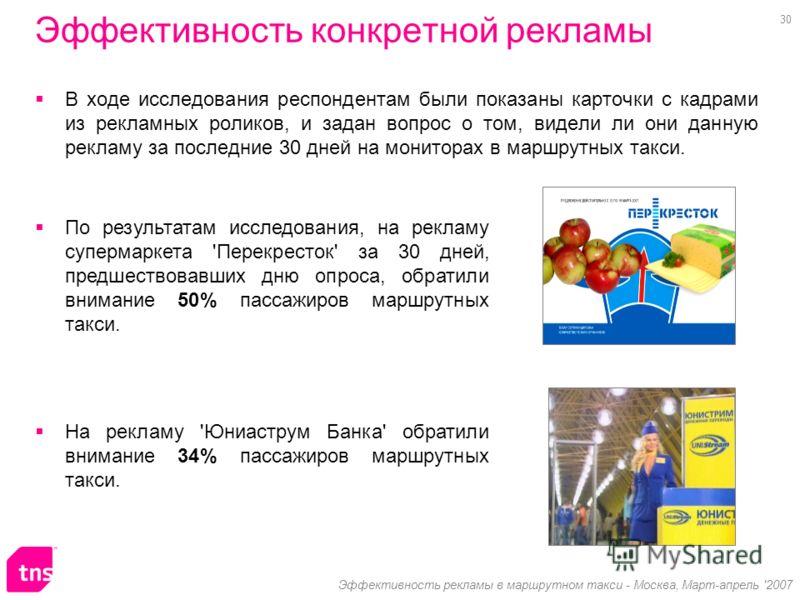 30 Эффективность рекламы в маршрутном такси - Москва, Март-апрель '2007 Эффективность конкретной рекламы В ходе исследования респондентам были показаны карточки с кадрами из рекламных роликов, и задан вопрос о том, видели ли они данную рекламу за пос