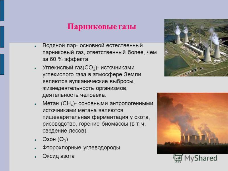 Парниковые газы Водяной пар- основной естественный парниковый газ, ответственный более, чем за 60 % эффекта. Углекислый газ(CO 2 )- источниками углекислого газа в атмосфере Земли являются вулканические выбросы, жизнедеятельность организмов, деятельно