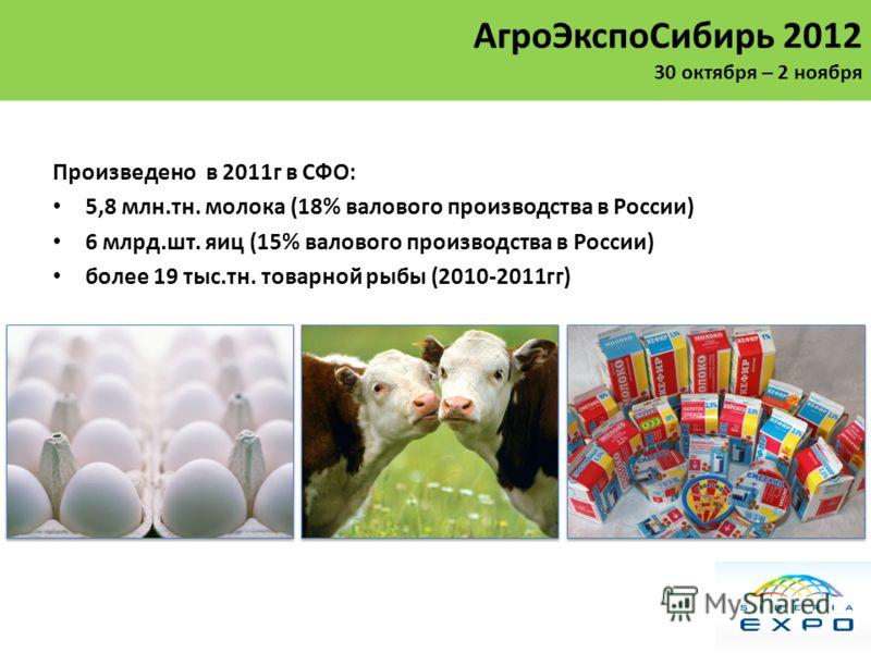 Произведено в 2011г в СФО: 5,8 млн.тн. молока (18% валового производства в России) 6 млрд.шт. яиц (15% валового производства в России) более 19 тыс.тн. товарной рыбы (2010-2011гг) АгроЭкспоСибирь 2012 30 октября – 2 ноября