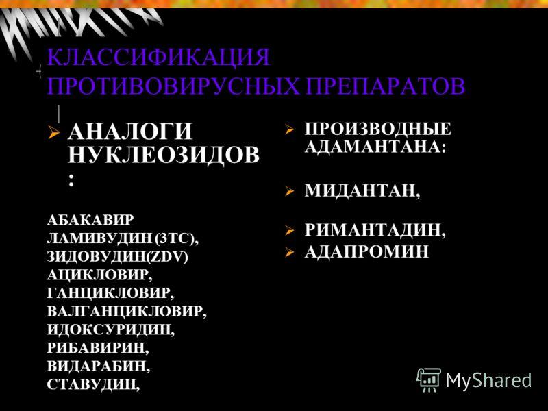 КЛАССИФИКАЦИЯ ПРОТИВОВИРУСНЫХ ПРЕПАРАТОВ ПРОИЗВОДНЫЕ АДАМАНТАНА: МИДАНТАН, РИМАНТАДИН, АДАПРОМИН АНАЛОГИ НУКЛЕОЗИДОВ : АБАКАВИР ЛАМИВУДИН (3ТС), ЗИДОВУДИН(ZDV) АЦИКЛОВИР, ГАНЦИКЛОВИР, ВАЛГАНЦИКЛОВИР, ИДОКСУРИДИН, РИБАВИРИН, ВИДАРАБИН, СТАВУДИН,
