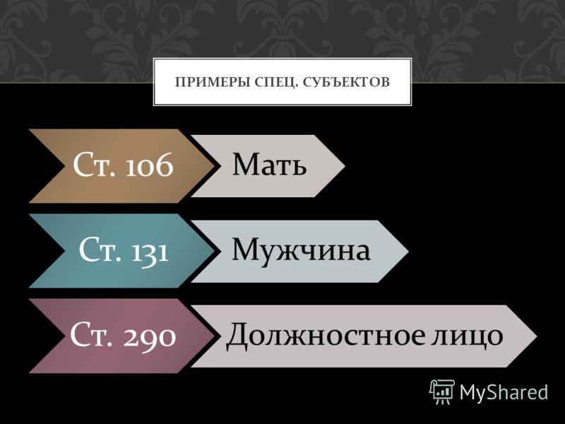 Ст. 106 Мать Ст. 131 Мужчина Ст. 290 Должностное лицо ПРИМЕРЫ СПЕЦ. СУБЪЕКТОВ