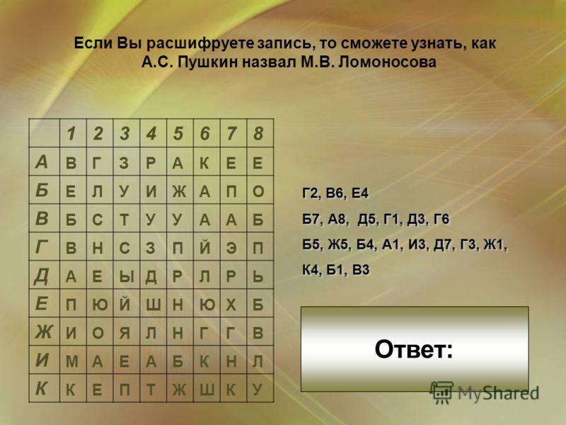 12345678 А ВГЗРАКЕЕ Б ЕЛУИЖАПО В БСТУУААБ Г ВНСЗПЙЭП Д АЕЫДРЛРЬ Е ПЮЙШНЮХБ Ж ИОЯЛНГГВ И МАЕАБКНЛ К КЕПТЖШКУ Г2, В6, Е4 Б7, А8, Д5, Г1, Д3, Г6 Б5, Ж5, Б4, А1, И3, Д7, Г3, Ж1, К4, Б1, В3 Г2, В6, Е4 Б7, А8, Д5, Г1, Д3, Г6 Б5, Ж5, Б4, А1, И3, Д7, Г3, Ж1,