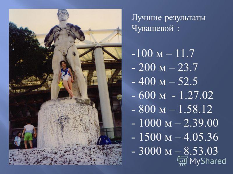 Лучшие результаты Чувашевой : - 100 м – 11.7 - 200 м – 23.7 - 400 м – 52.5 - 600 м - 1.27.02 - 800 м – 1.58.12 - 1000 м – 2.39.00 - 1500 м – 4.05.36 - 3000 м – 8.53.03