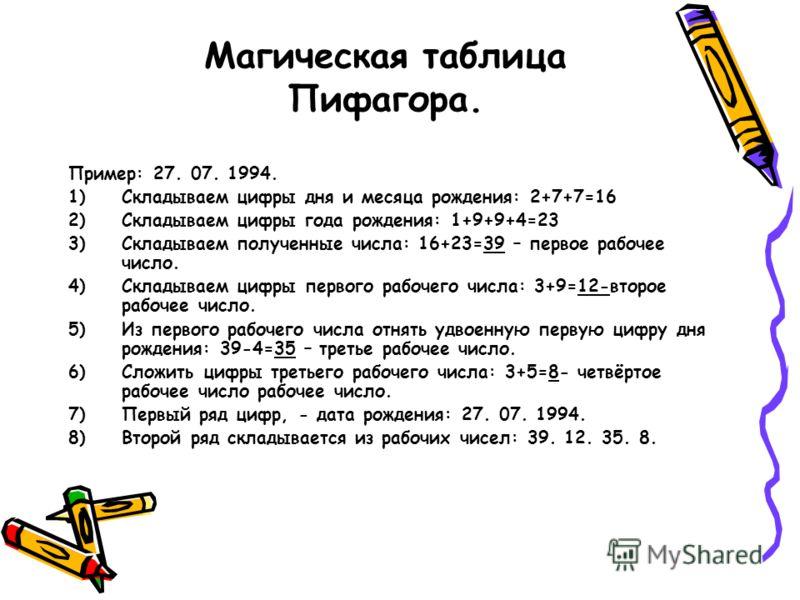 Магическая таблица Пифагора. Пример: 27. 07. 1994. 1)Складываем цифры дня и месяца рождения: 2+7+7=16 2)Складываем цифры года рождения: 1+9+9+4=23 3)Складываем полученные числа: 16+23=39 – первое рабочее число. 4)Складываем цифры первого рабочего чис