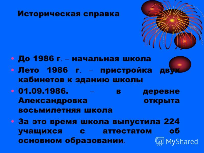 Историческая справка До 1986 г. – начальная школа Лето 1986 г. – пристройка двух кабинетов к зданию школы 01.09.1986. – в деревне Александровка открыта восьмилетняя школа За это время школа выпустила 224 учащихся с аттестатом об основном образовании.