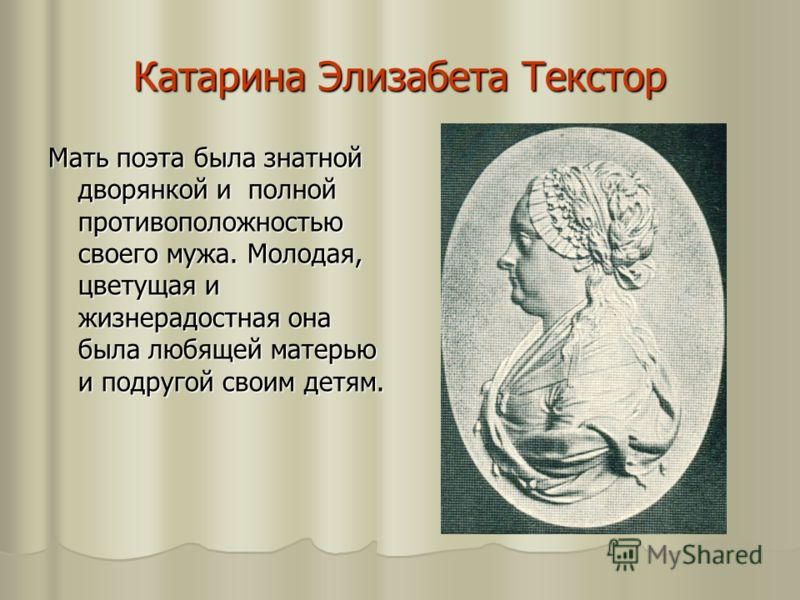 Катарина Элизабета Текстор Мать поэта была знатной дворянкой и полной противоположностью своего мужа. Молодая, цветущая и жизнерадостная она была любящей матерью и подругой своим детям.