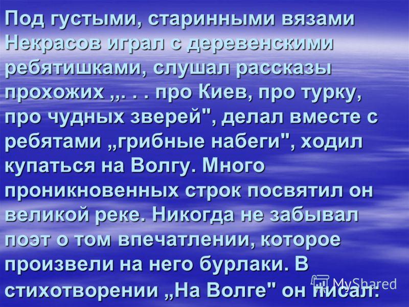 Под густыми, старинными вязами Некрасов играл с деревенскими ребятишками, слушал рассказы прохожих,,... про Киев, про турку, про чудных зверей