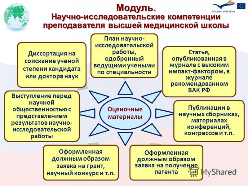Модуль. Научно-исследовательские компетенции преподавателя высшей медицинской школы Учебные блоки (подпрограммы)