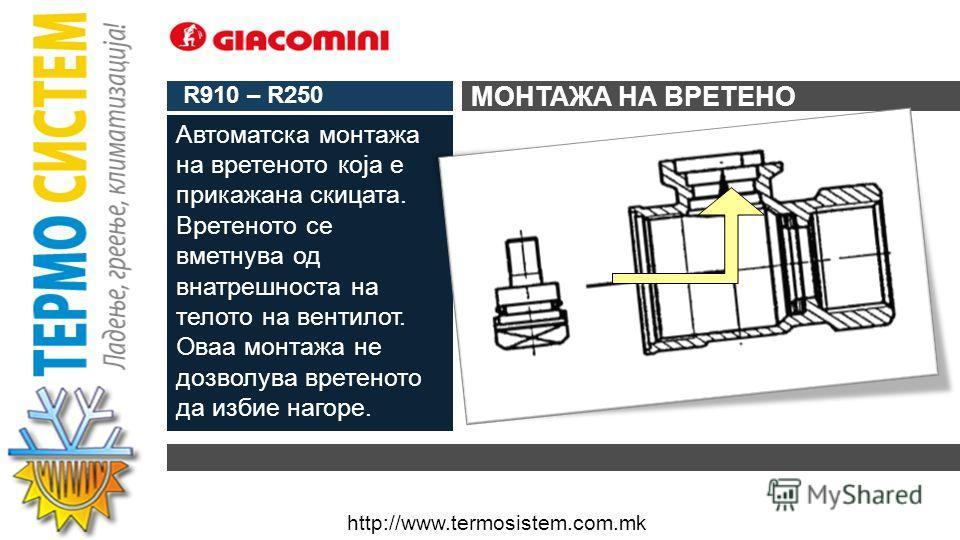 http://www.termosistem.com.mk STEMR910 – R250 КАКО СЕ МОНТИРА ВРЕТЕНОТО?