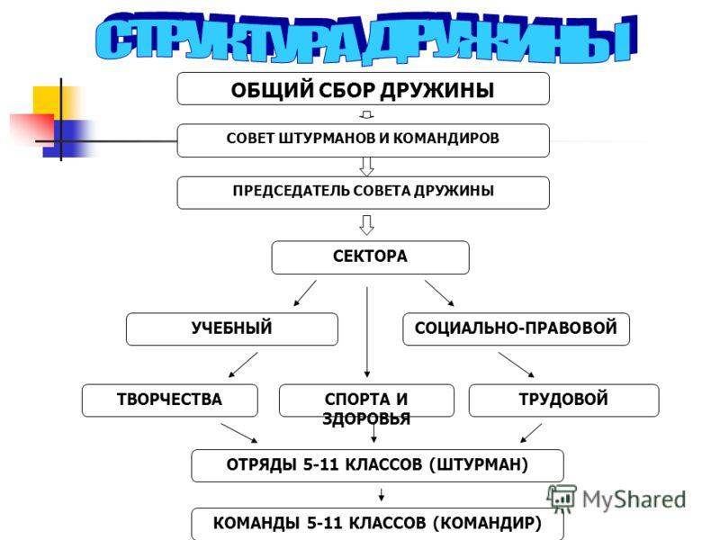ОБЩИЙ СБОР ДРУЖИНЫ СОВЕТ ШТУРМАНОВ И КОМАНДИРОВ ПРЕДСЕДАТЕЛЬ СОВЕТА ДРУЖИНЫ СЕКТОРА СОЦИАЛЬНО-ПРАВОВОЙУЧЕБНЫЙ ТРУДОВОЙСПОРТА И ЗДОРОВЬЯ ТВОРЧЕСТВА КОМАНДЫ 5-11 КЛАССОВ (КОМАНДИР) ОТРЯДЫ 5-11 КЛАССОВ (ШТУРМАН)