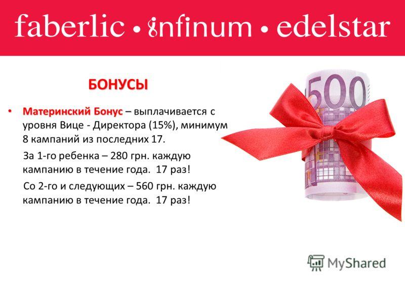 БОНУСЫ Материнский Бонус – Материнский Бонус – выплачивается с уровня Вице - Директора (15%), минимум 8 кампаний из последних 17. За 1-го ребенка – 280 грн. каждую кампанию в течение года. 17 раз! Со 2-го и следующих – 560 грн. каждую кампанию в тече