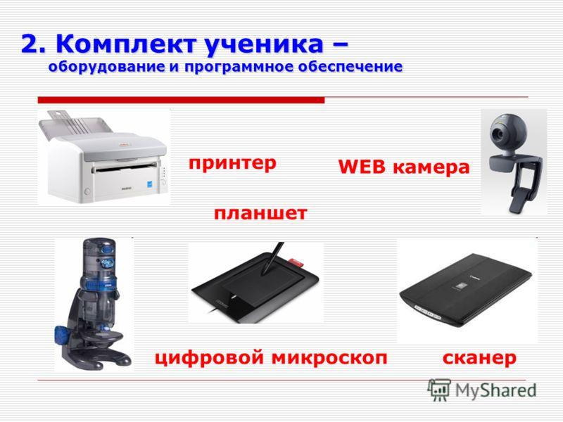WEB камера принтер планшет сканерцифровой микроскоп 2. Комплект ученика – оборудование и программное обеспечение оборудование и программное обеспечение