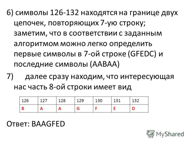 6) символы 126-132 находятся на границе двух цепочек, повторяющих 7-ую строку; заметим, что в соответствии с заданным алгоритмом можно легко определить первые символы в 7-ой строке (GFEDC) и последние символы (AABAA) 7) далее сразу находим, что интер